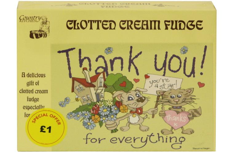 100g Clotted Cream Fudge 'Thank You' Postcard Box