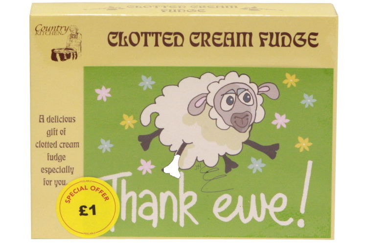 100g Clotted Cream Fudge 'Thank Ewe' Postcard Box