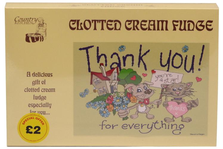 "200g Clotted Cream Fudge ""Thank You"" Postcard Box"