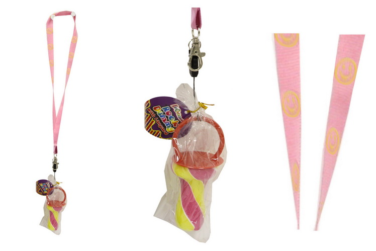 Pink Smiley Lanyard With Rock Dummy