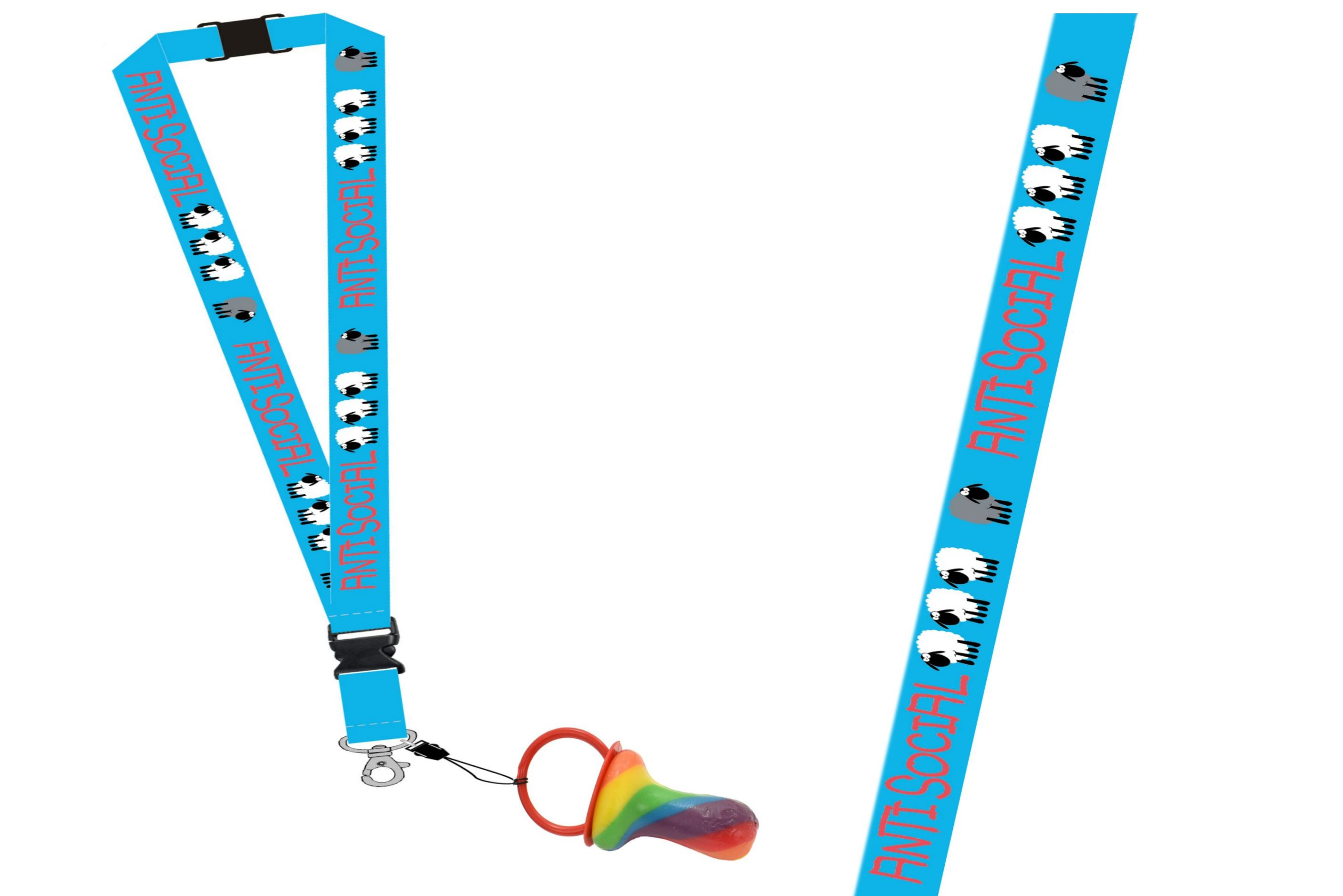 Antisocial Lanyard With Rock Dummy