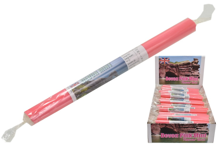 Devon Pink Mint Flavoured Rock Sticks In Display Box