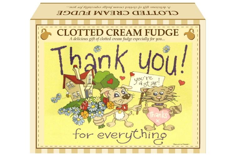 "100g Clotted Cream Fudge ""Thank You"" Postcard Gift Box"