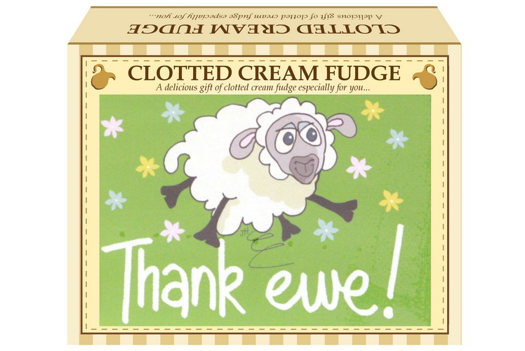 "100g Clotted Cream Fudge ""Thank Ewe"" Postcard Gift Box"