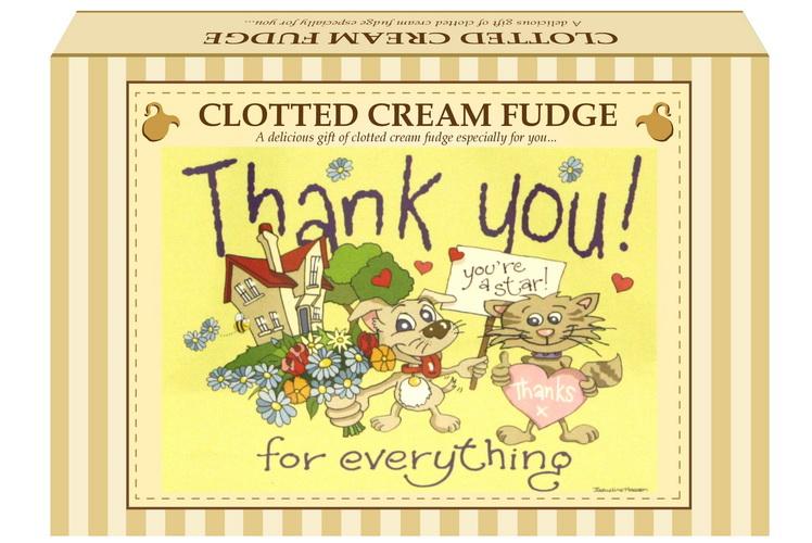 "200g Clotted Cream Fudge ""Thank You"" Postcard Gift Box"