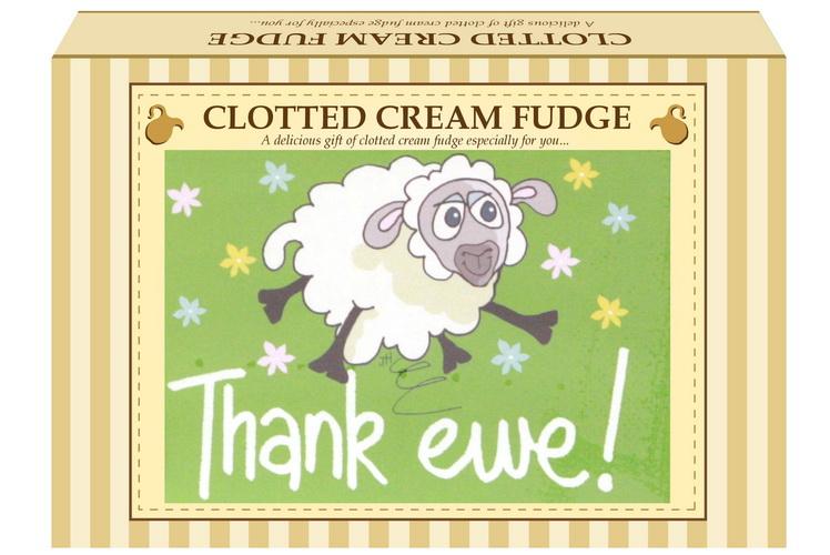 "200g Clotted Cream Fudge ""Thank Ewe"" Postcard Gift Box"