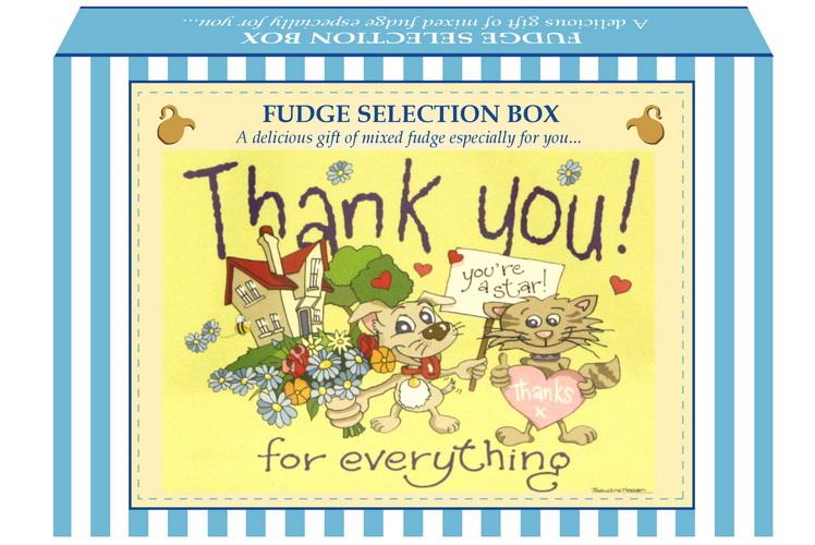 "200g Mixed Fudge ""Thank You"" Postcard Gift Box"