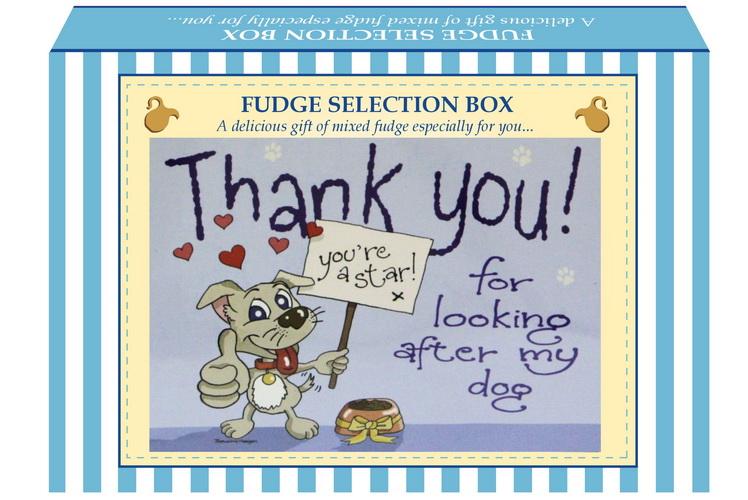 """200g Mixed Fudge """"Dog"""" Postcard Gift Box"""