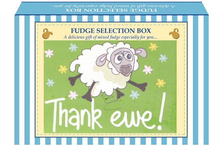 "200g Mixed Fudge ""Thank Ewe"" Postcard Gift Box"