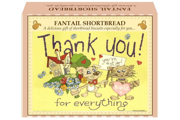 "125g Fantail Shortbread ""Thank You"" Postcard"