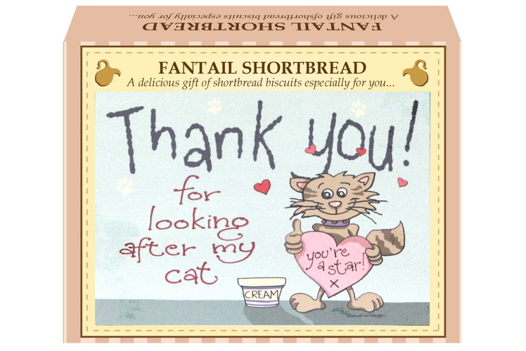 "125g Fantail Shortbread ""Cat"" Postcard Gift Box"
