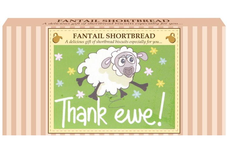 "250g Fantail Shortbread ""Thank Ewe"" Postcard Gift Box"