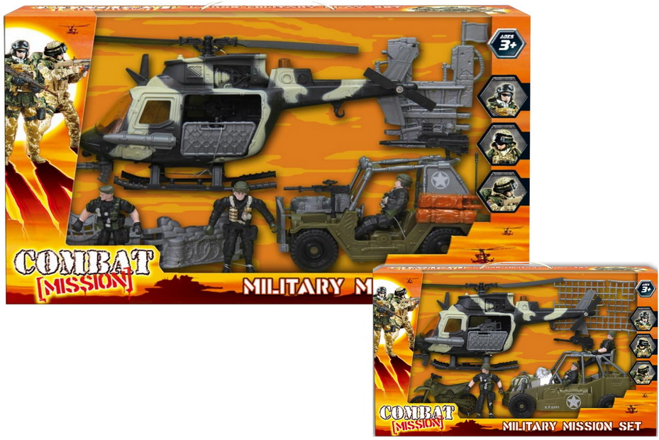 "Large Military Playset (2 Asst) In Wbx ""Combat Mission"""