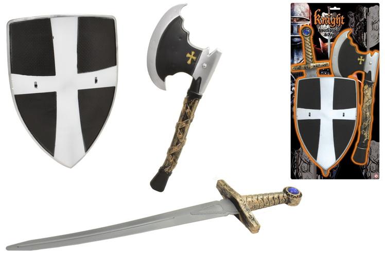 Knight Sword Shield & Axe Playset On Tie Card