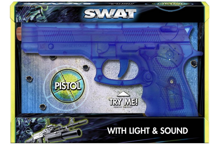 """Pistol With Light & Sound """"Try Me"""" Open Touch Bx """"Swat"""""""