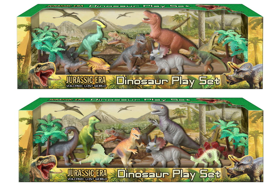 "13pc Dinosaur Playset ""Jurassic Era"" (2 Asst) In Otb"