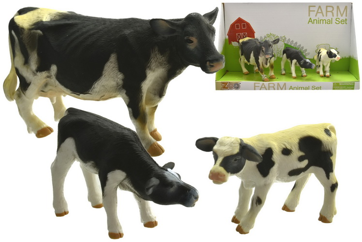 3pc Cows Playset In Open Touch Box