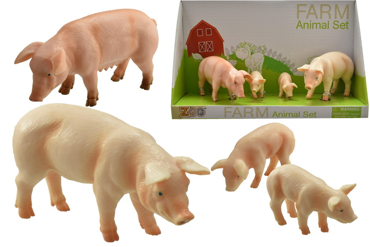 4pc Pig & Piglets Playset In Open Touch Box