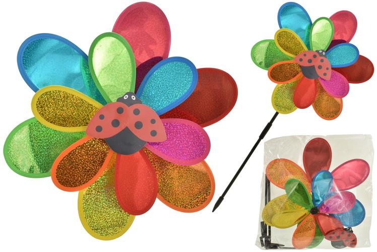 Dual Spinning Metallic Glitter Ladybird Windmill