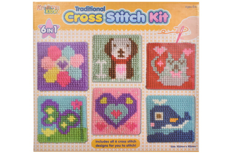Cross Stitching Kits (6 Assorted) In Colour Box