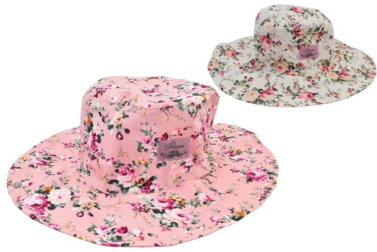 Ladies Floral Wide Brim Cotton Hat 57cm