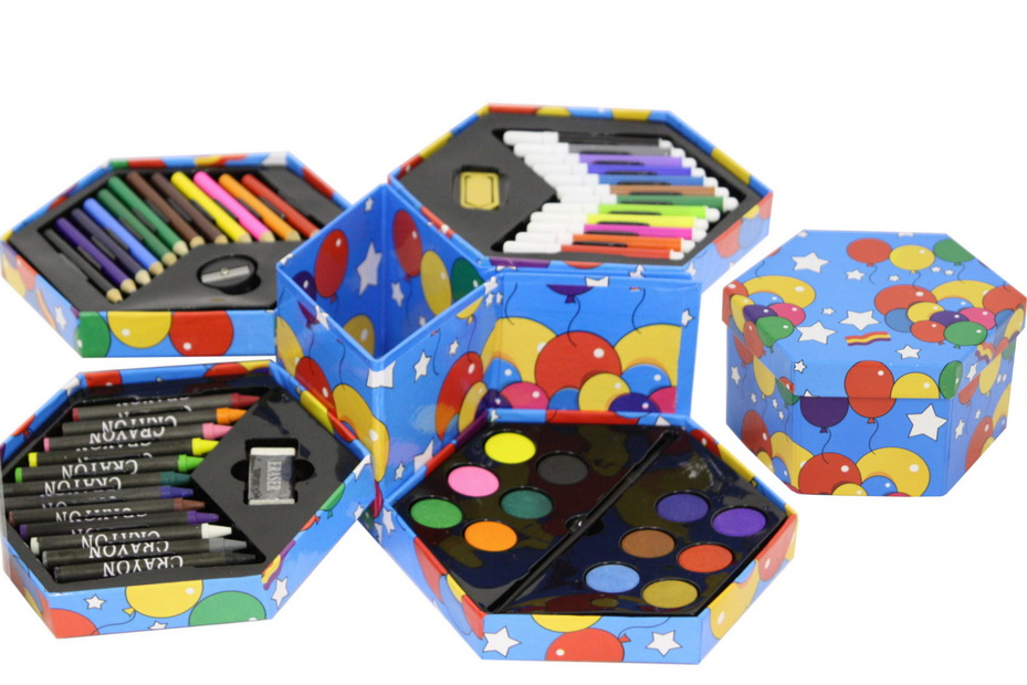 52pc Art Set In Hexagonal Box