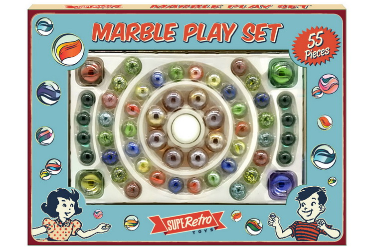 "55pc Marble Playset In Colour Window Box ""Retro"""
