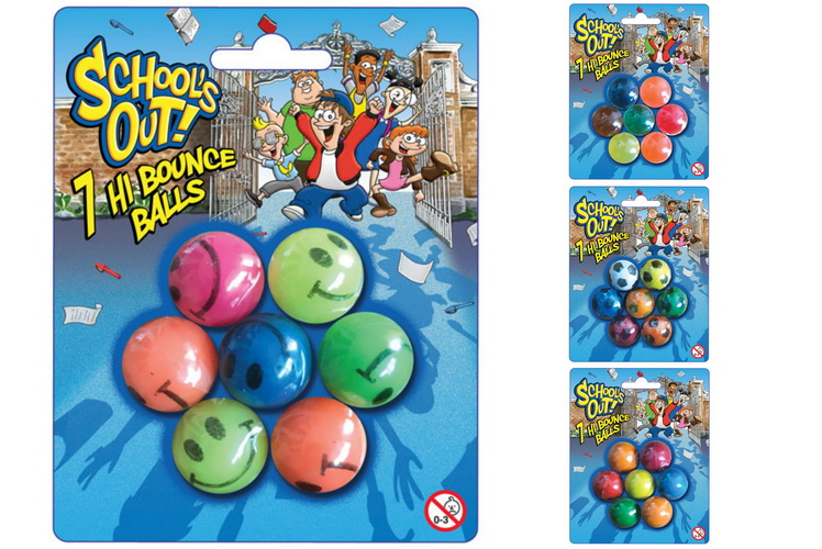 """7pc Bounce Balls (4 Asst) On Blistercard """"Schools Out"""""""