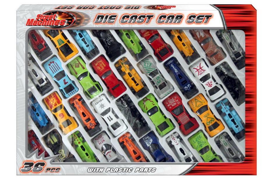 "36pc Die Cast Car Set In Window Box ""Street Machines"""