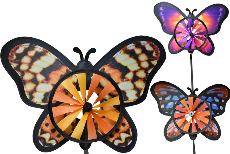 Butterfly Windmill Realistic Design 3 Assorted Colours