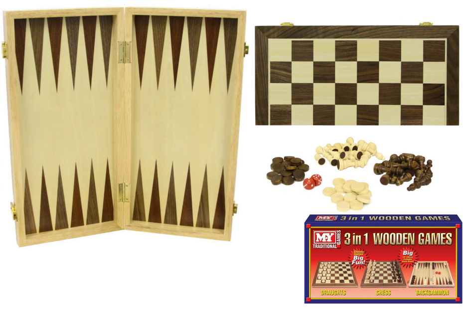 """15""""/38cm 3in1 Wooden Chess/Draughts/Backgammon """"M.Y"""""""
