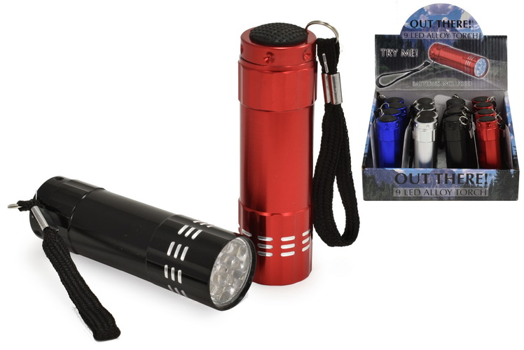 """9 Led Alloy Torch (Batteries Inc) 4 Asst """"Out There"""""""