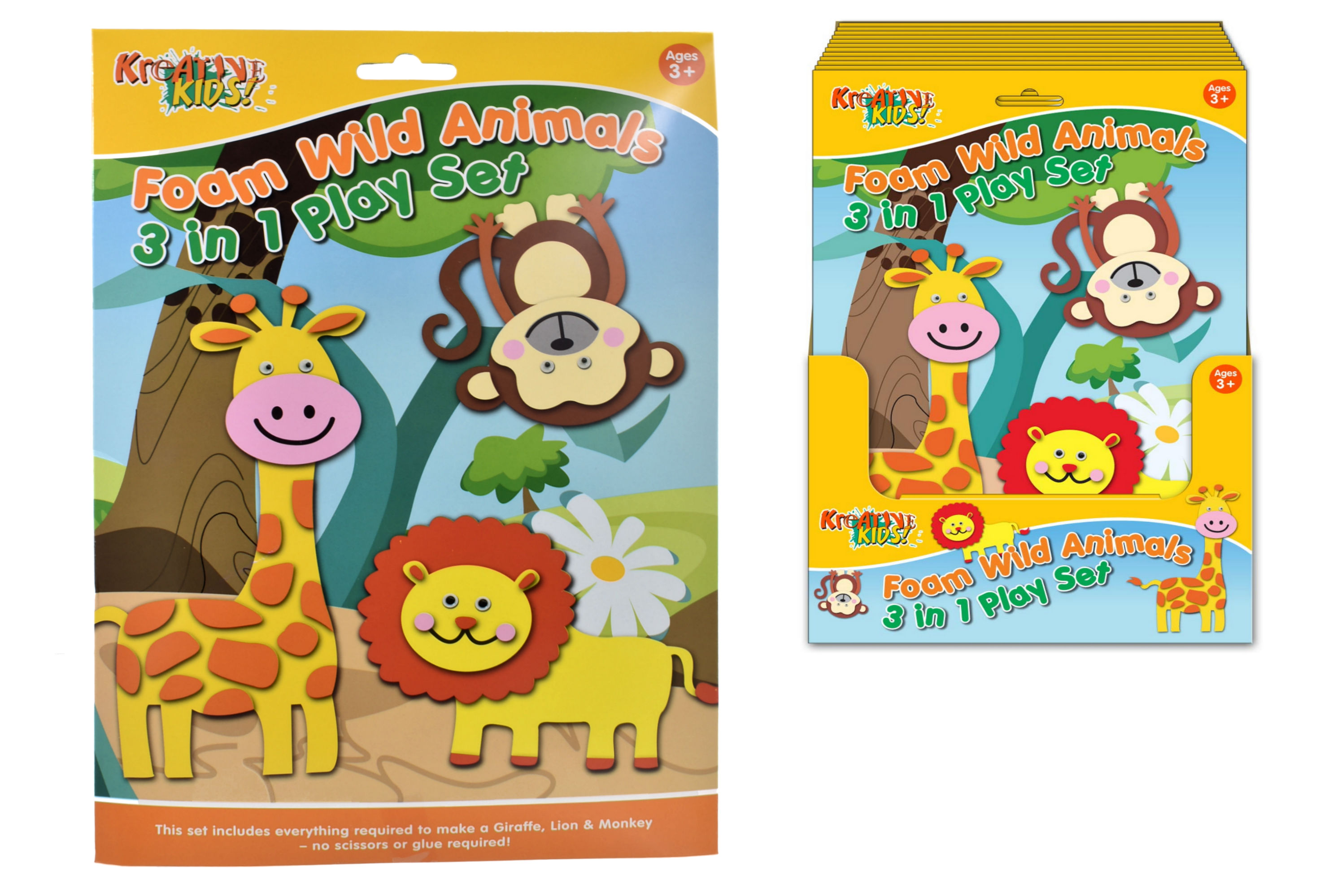 Foam Playsets Wild Animals In Hanging Sleeve & Pdq