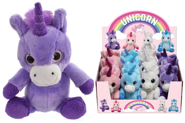 17cm Plush Large Eyed Unicorn (4 Asst Colours) In D/Box