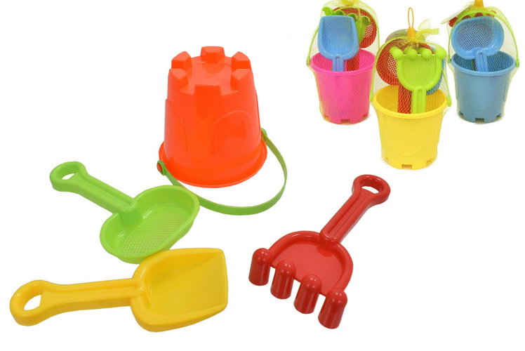 Small Round Castle Bucket Set 4pc In Net - 4 Asst Cols