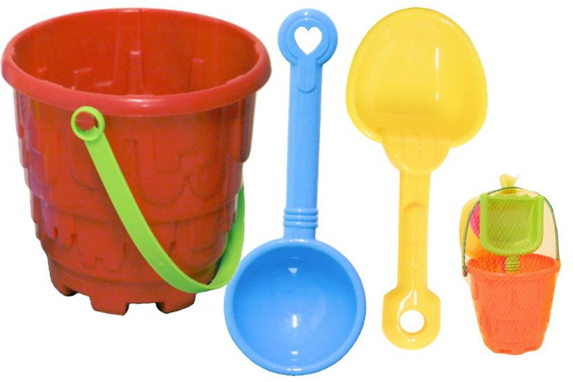 4pc Round Castle Bucket Set - Bucket/Rake & 2 Spades