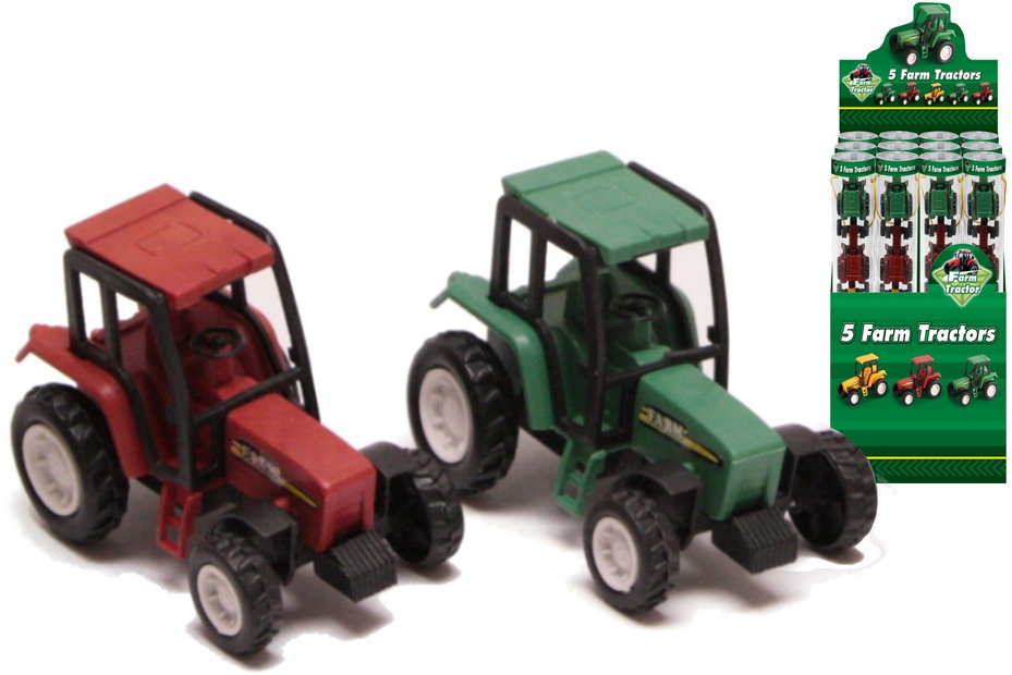 "5 Plastic Tractors In Tube In Display Box ""Farm Series"""