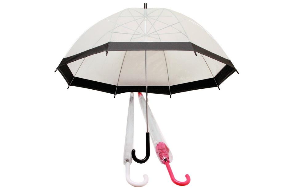 """23""""/58cm Rib Transparent Umbrella - Assorted Colours"""