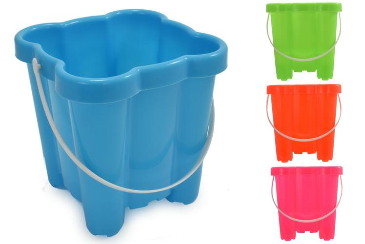 """16cm/6.5"""" Plastic Square Castle Bucket Asst Neon Cols"""