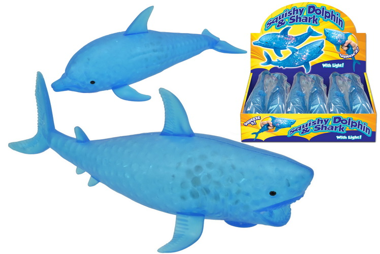 Light Up Squishy Dolphin & Shark With Light In D/Box