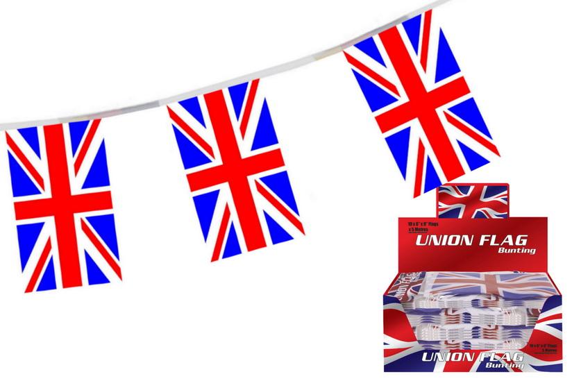 "5m Union Flag Bunting (10 x 6"" x 9"" Approx) Display Box"