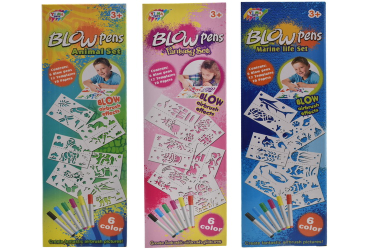 3 Assorted Blow Pen Playsets In Colour Box