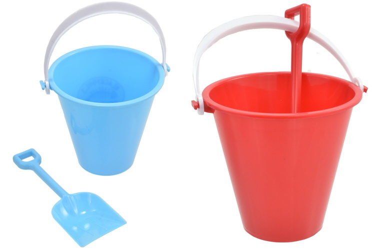 11cm Round Chip Bucket & Spade 2 Assorted Colours