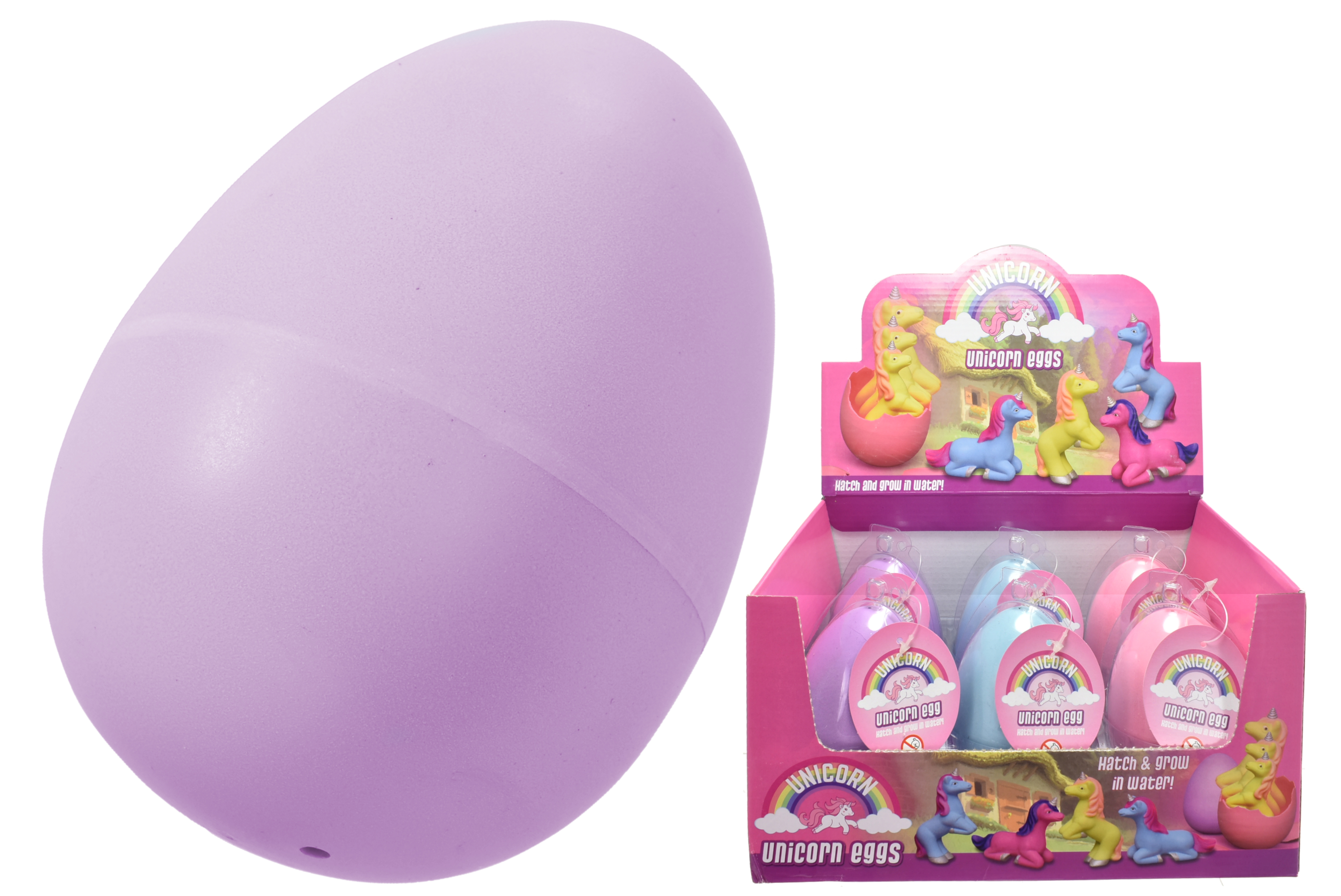 Large Growing Unicorn In Egg (3 Asst Colours) In D/Box