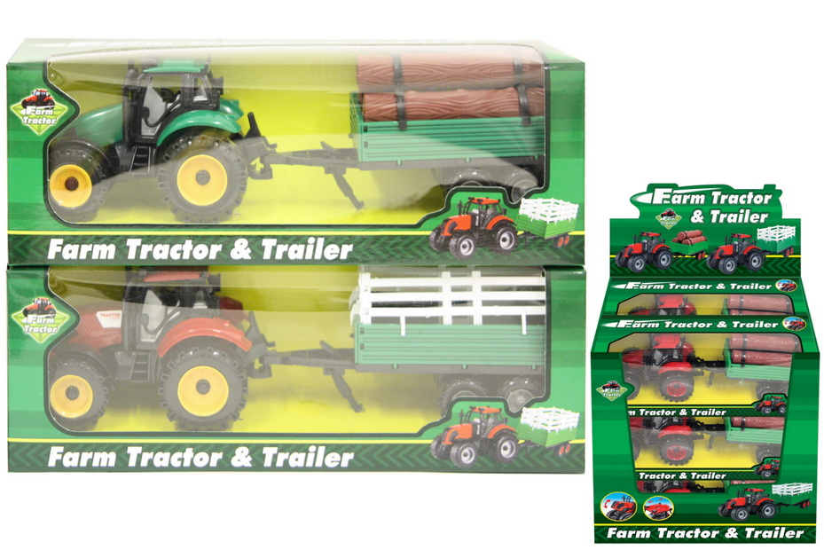Plastic Tractor With 2 Assorted Trailers