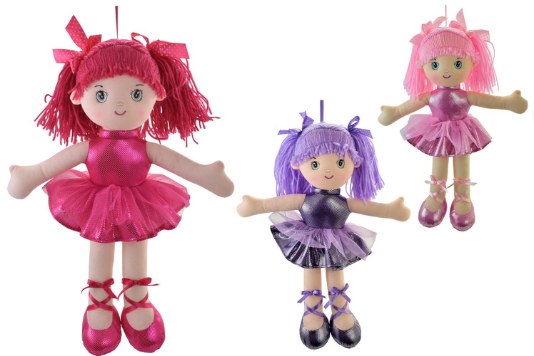 40cm Plush Glitter Ballerina Dolls - 3 Assorted
