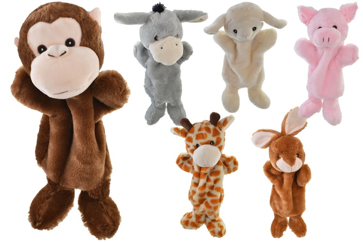 25cm Animal Hand Puppets (6 Assorted) On Tie Card