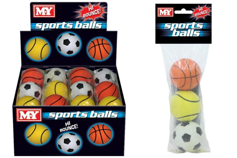 "3 Asst Rubber Sponge Balls P/Bag/Header In D/Box ""M.Y"""