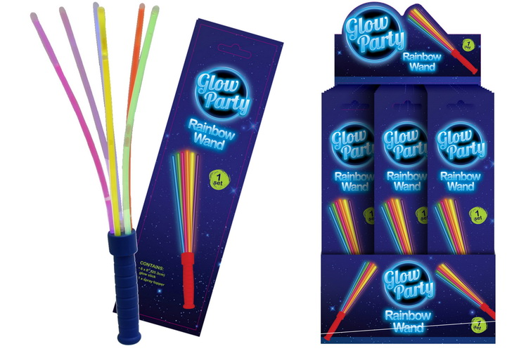 Glow Rainbow Wand In Colour Foil Bag & Display Box