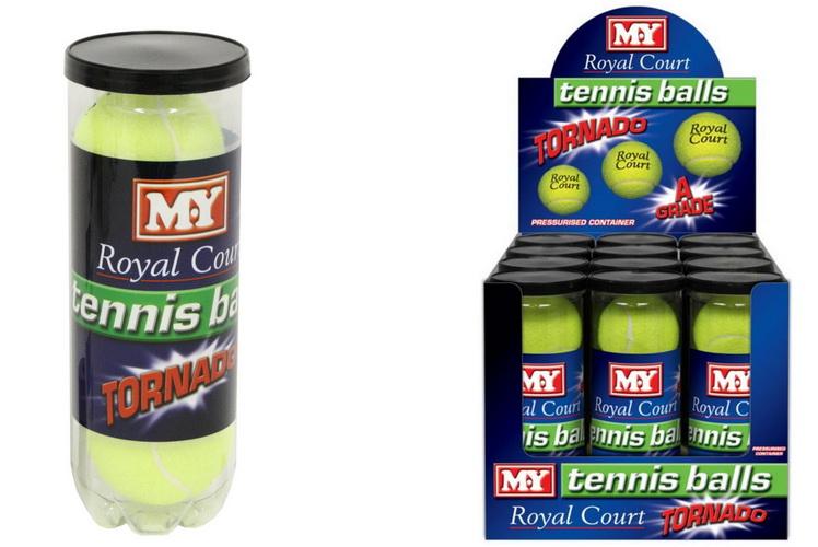 "3pk Tennis Ball In Pressurised Tube ""M.Y Royal Court"""